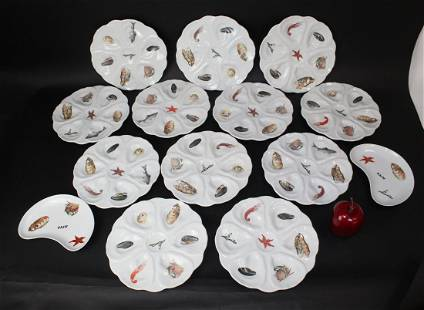 Lot of 12 French porcelain oyster seafood plates