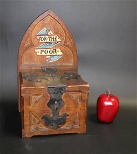 English Gothic Revival oak box from a church