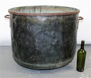 Antique French copper cauldron with iron handles