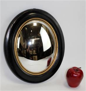 Antique French oval butler's mirror