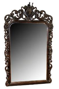 French Black Forest carved mirror with deer head