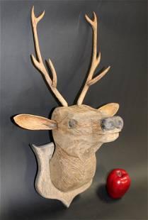 French Black Forest carved deer head