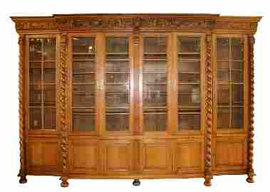 French 6 door paned glass walnut bookcase