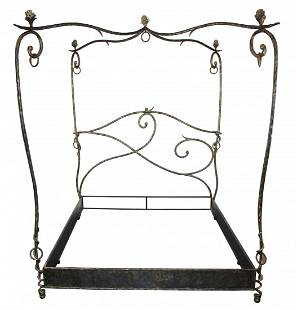 French hand forged iron canopy bed