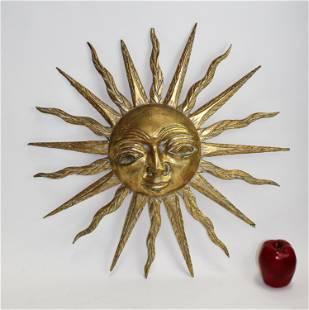 Mid Century sunburst giltwood plaque