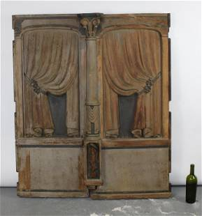 Pair antique carved polychrome wooden hearse doors