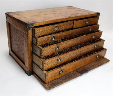 Antique American oak machinist tool chest