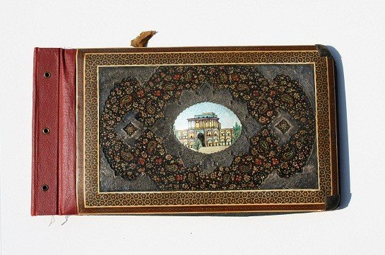 5: Iranian folio-handpainted enamel with brass accents