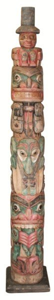 9: Carved wood and painted totem pole, Eleutian Islands