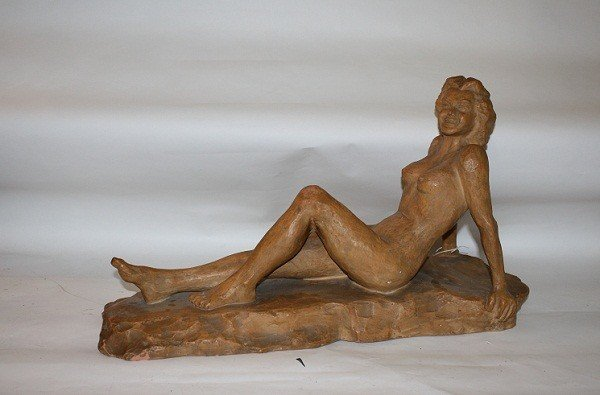 14: Terra cotta sculpture reclining nude P. Setste 1942