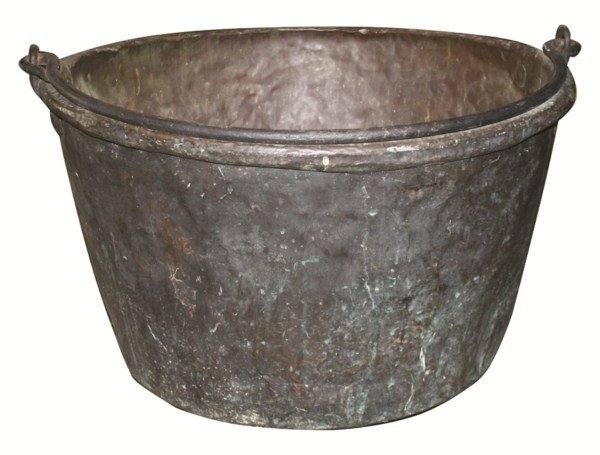 19: Antique copper candy vat with iron handle
