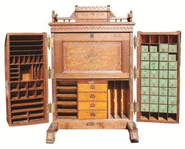 128: Standard Grade Wooton patent secretary in walnut