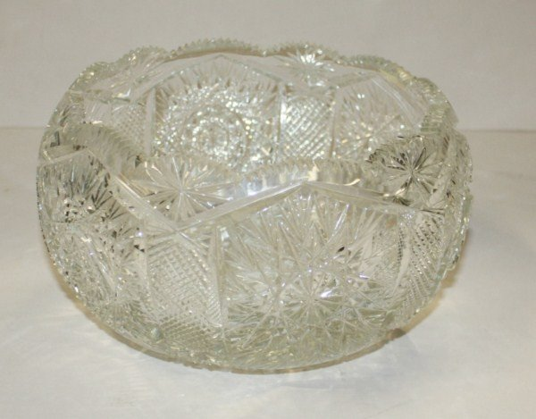 "1: Cut crystal bowl Harvard pattern  8.5""w x 5""h"