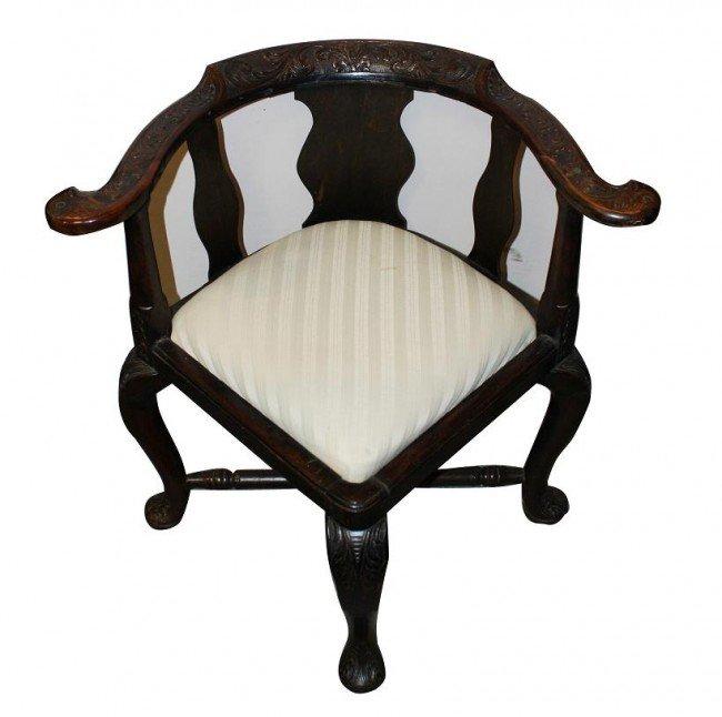 6: English mahogany carved corner chair