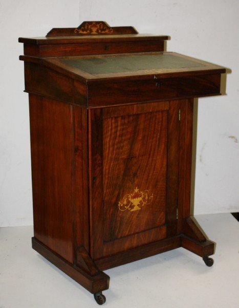 12: Edwardian inlaid davenport desk with leather top