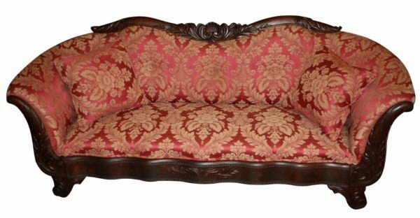 16: Victorian upholstered parlor settee