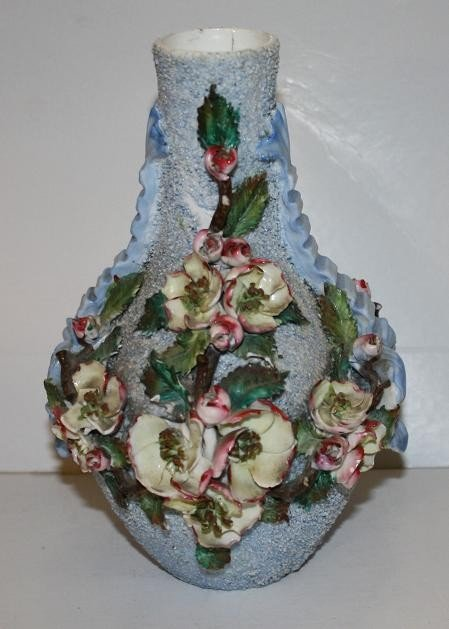 17: Majolica vase-blue with floral accents