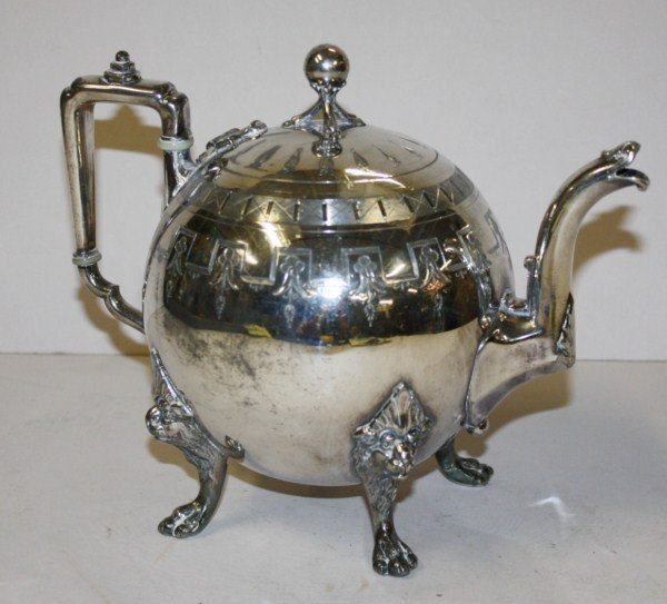 21: Reed & Barton silverplate teapot with lion head and