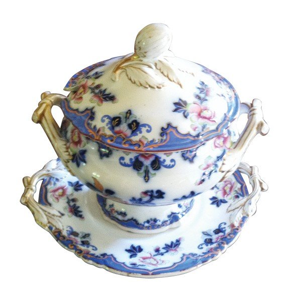 1: Antique English Ironstone lidded tureen on platter