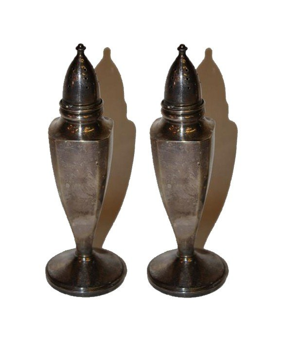 3A: pair of sterling salt & pepper shakers