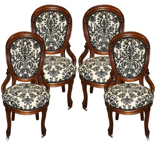 4: s/4 Victorian parlor chairs in b&w damask upholstery