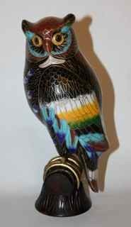 4B: Cloisonne owl on wooden perch