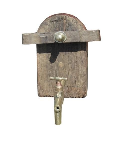 9: Antique French bronze & wood wine cask tap