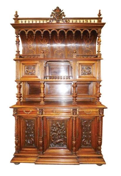 76: French Mannerist buffet with hooded top in carved