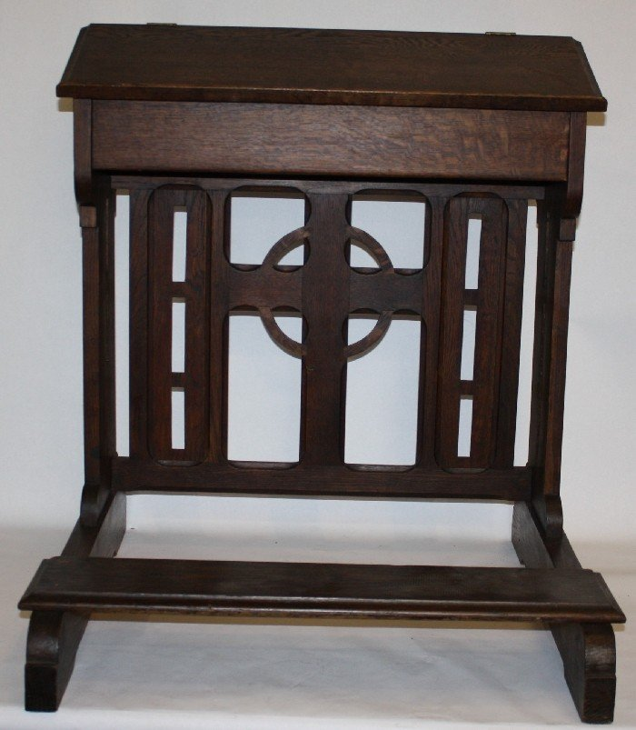 2: French oak Gothic style prayer bench