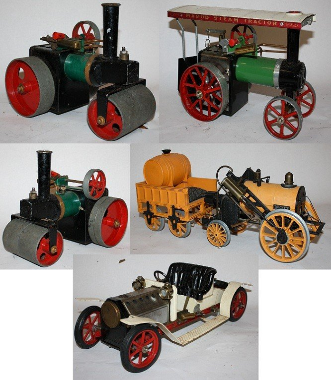 """7: Lot of 5 vintage steam toys :Mamod """"Steam Tractor"""""""
