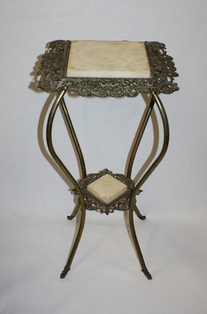 14: Brass & marble plant stand