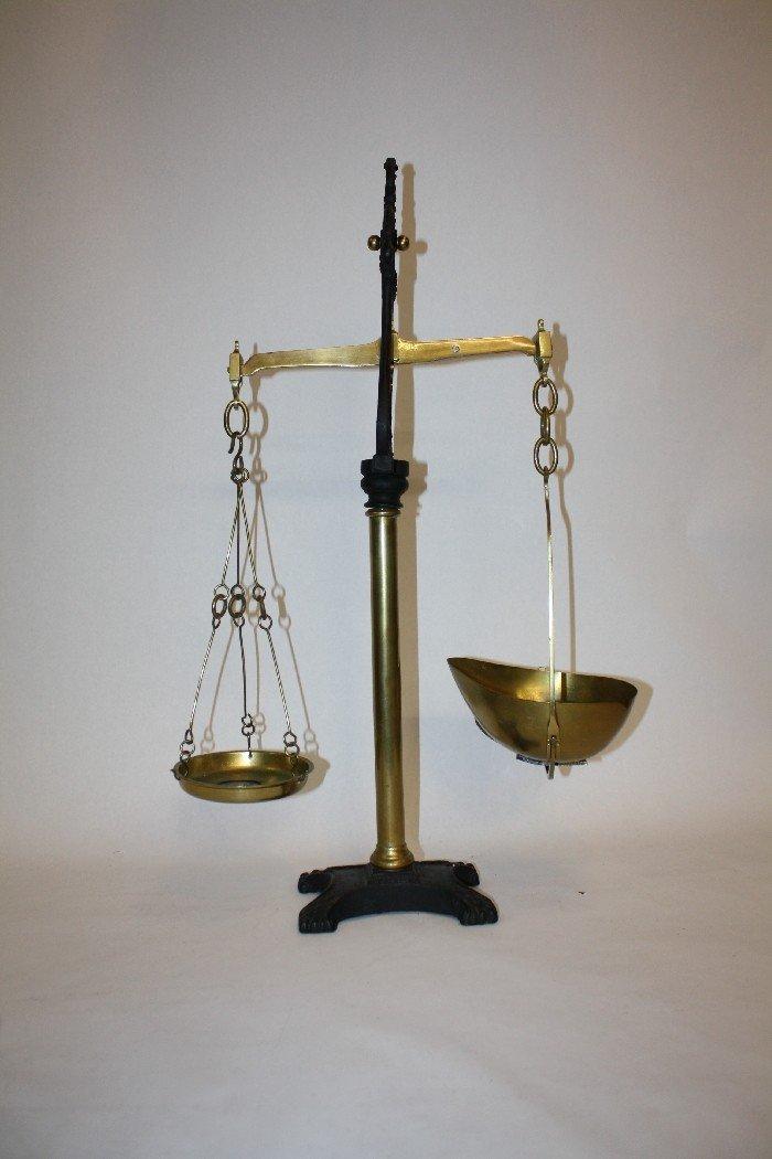 17: Iron & brass balance scale