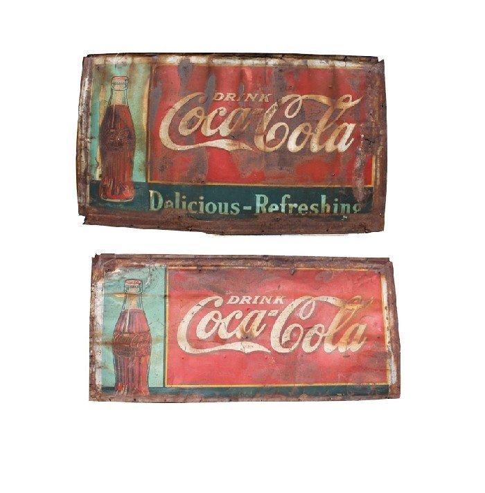 20: Lot of 2 vintage tin Coca-Cola signs