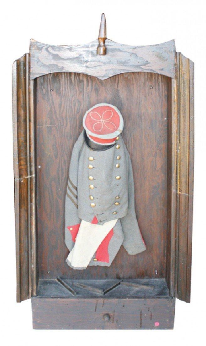 23: Civil War soldiers uniform in shadowbox