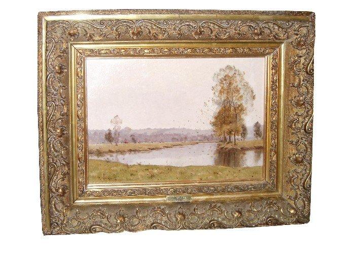 128: Henri Linguet Barbizon school landscape oil on can