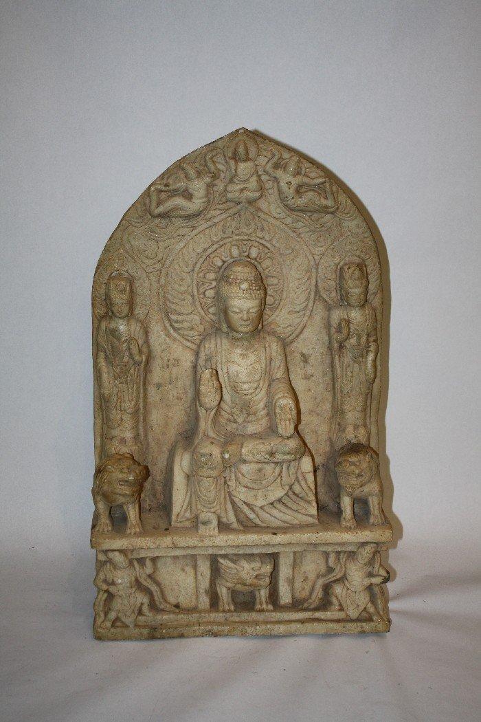 132: Rare Buddhist Votive Stele carved 4 sides in marbl