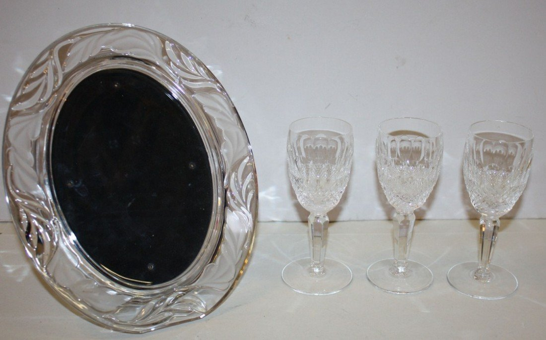 2: Lot of Waterford crystal-frame, 3 cordials, vase