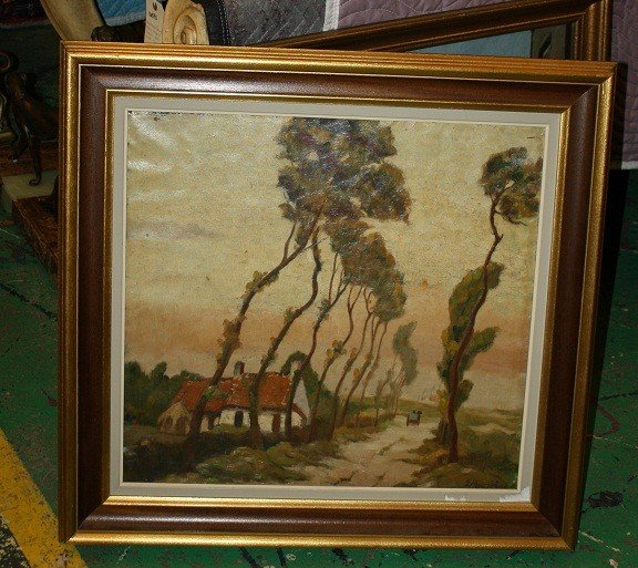 3: Oil on canvas-landscape with trees
