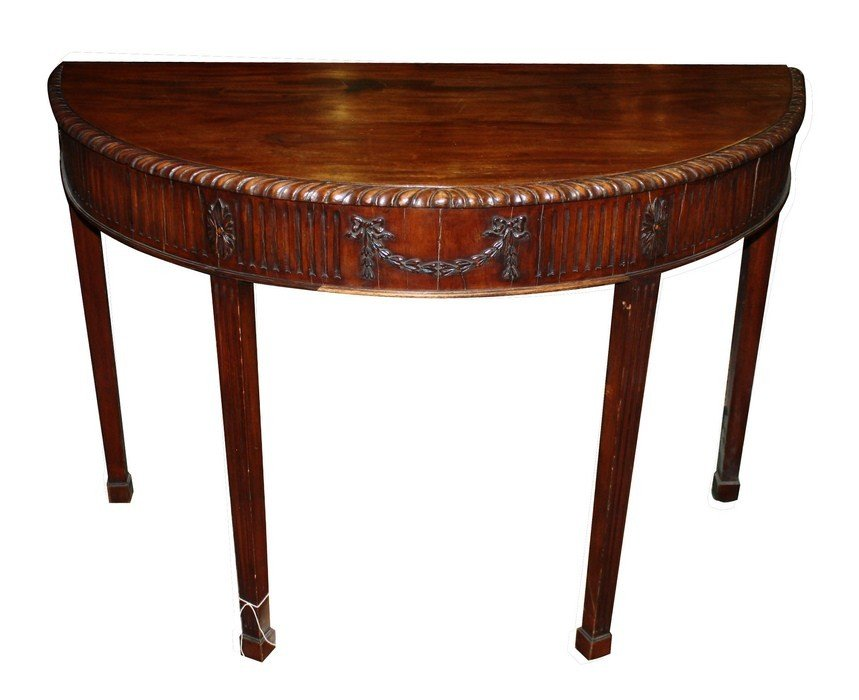 4: Mahogany demi-luine console with garland