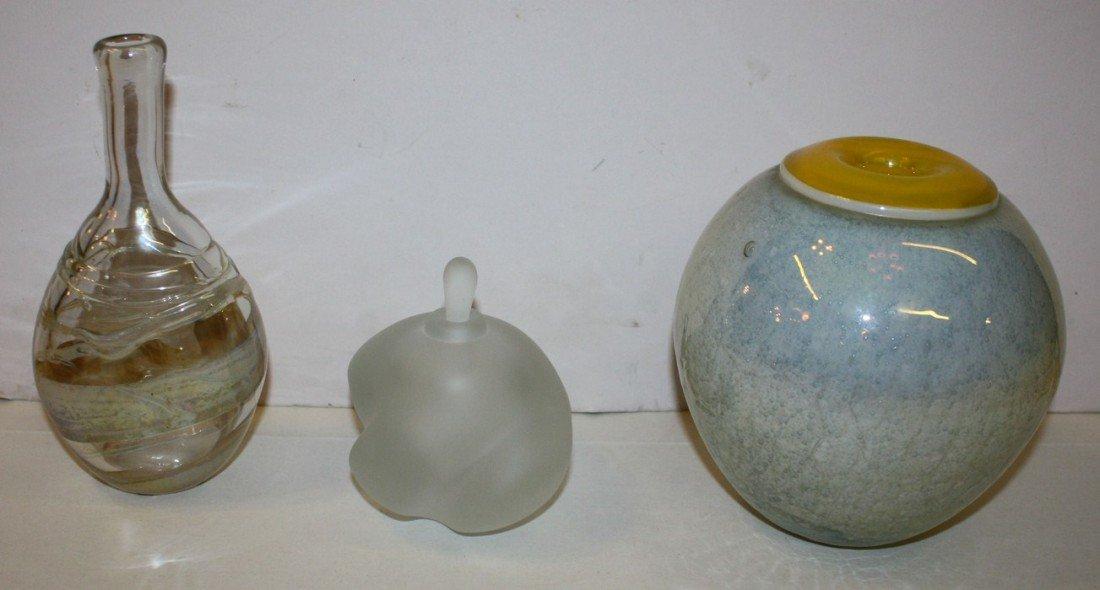6: Lot of 3 Leon Applebaum glass pieces
