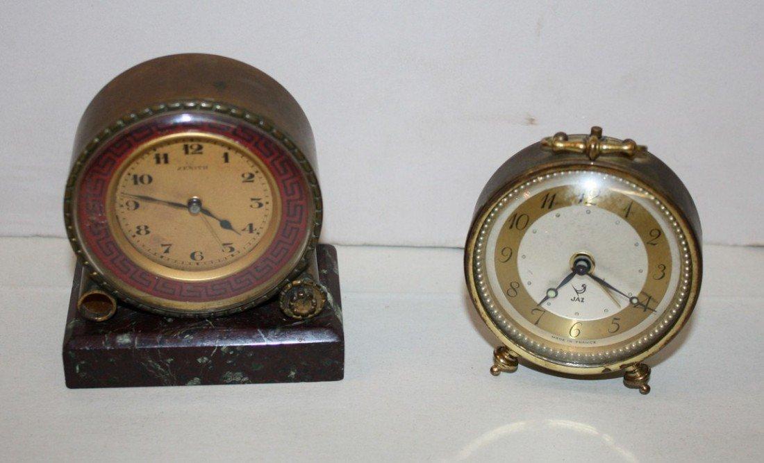 13: Lot of 2 small French clocks -Zenith & JAZ