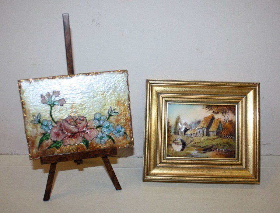 14: Lot of 2 small Limoges plaques each artist signed