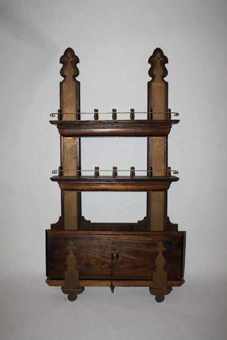18: Bronze mount bar shelf with locking bottles