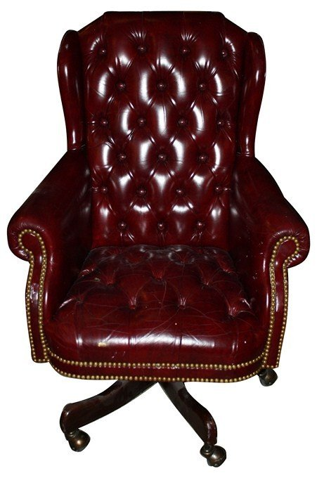Hancock & Moore tufted burgundy leather desk chair