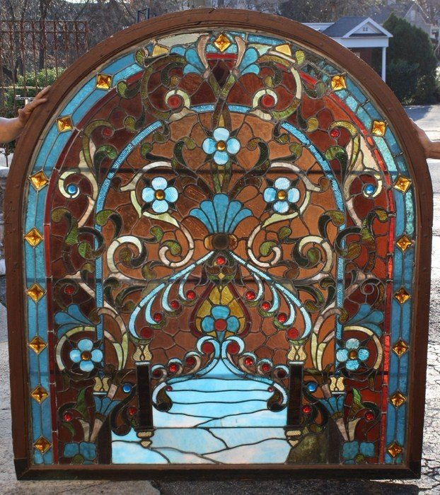 126: Antique American stained, leaded & jeweled glass