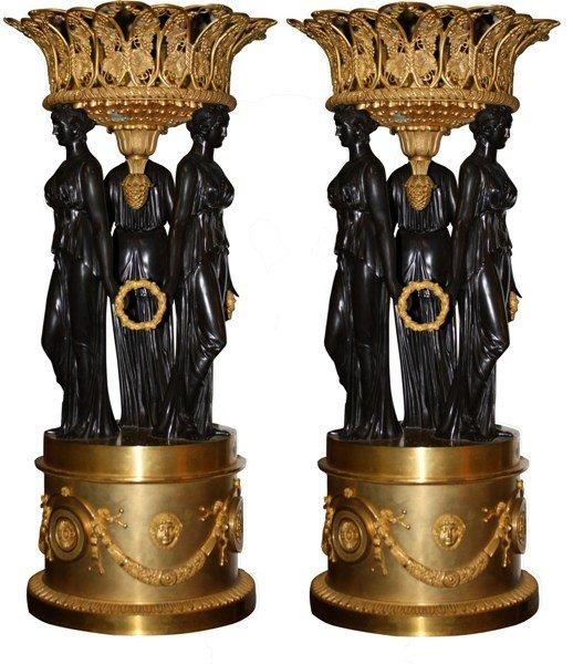 149A: Pair of bronze & gilt bronze classical Urns