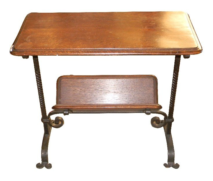 3: French small table with scrolled iron base