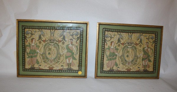 4: Pair of needlepoints with crests