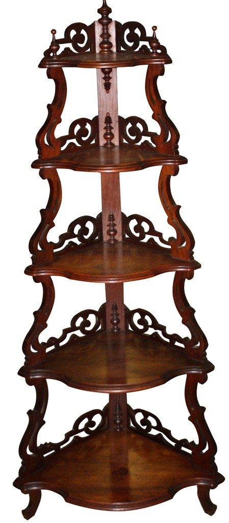 5: Pierce carved mahogany corner etagere