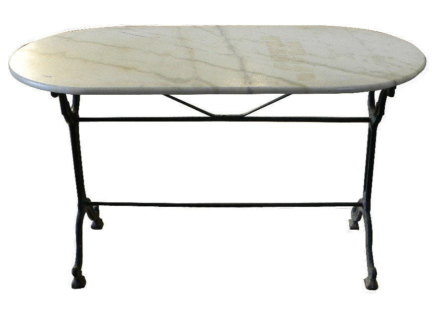 8: French bakers table-iron base and marble top